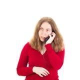 Jonge vrouw die somebody roepen Royalty-vrije Stock Afbeelding