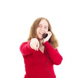 Jonge vrouw die somebody roepen Stock Foto