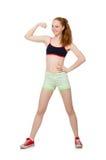 Jonge vrouw die sportoefeningen doet Stock Afbeeldingen