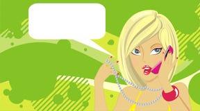 Jonge vrouw die telefonisch roept Stock Foto