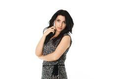 Jonge vrouw die telefoon met behulp van Stock Foto's