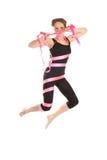 Jonge vrouw die van de band springt. Royalty-vrije Stock Afbeelding