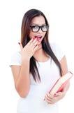 Jonge Vrouw die Verbaasd kijkt Stock Afbeeldingen