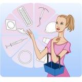 Jonge vrouw die voor schematisch voorgestelde methodes van geboortenbeperking winkelen, royalty-vrije illustratie