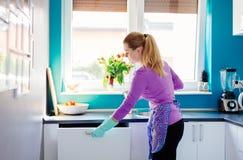 Jonge vrouw die vuile schotels zetten aan afwasmachine royalty-vrije stock afbeelding