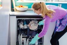 Jonge vrouw die vuile schotels zetten aan afwasmachine royalty-vrije stock fotografie