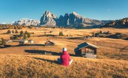 Jonge vrouw die in weiden en bergen zonsondergang in de herfst bekijken stock afbeelding