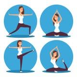 Jonge vrouw die yoga tot oefeningen en meditatie maken vectorillustratie royalty-vrije illustratie