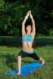 Jonge vrouw die yogaoefening op park doen Royalty-vrije Stock Fotografie