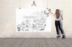 Jonge vrouw die zich op een ladder bevinden en een schets van het businessplan trekken op een witte banner 3d geef elementen in c stock fotografie