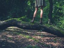 Jonge vrouw die zich op login het bos bevinden Royalty-vrije Stock Fotografie