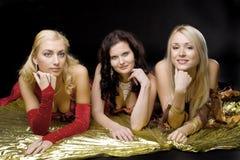 Jonge vrouw drie op gouden vleugel Royalty-vrije Stock Foto