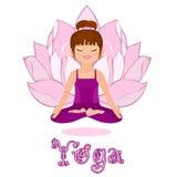 Jonge vrouw in een lotusbloempositie. Yogaklassen Stock Afbeelding