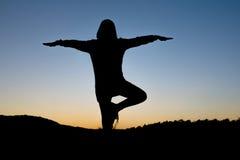 Jonge vrouw in een mediterende yoga Royalty-vrije Stock Afbeeldingen