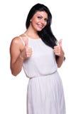 Jonge vrouw in een witte die de zomerkleding over wit wordt geïsoleerd royalty-vrije stock fotografie