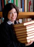 Jonge Vrouw en Boeken Royalty-vrije Stock Afbeeldingen