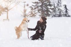 Jonge vrouw en haar spel van hondakita in park op sneeuwdag royalty-vrije stock afbeelding
