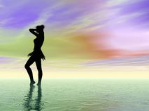 Jonge vrouw en oceaan Stock Foto's