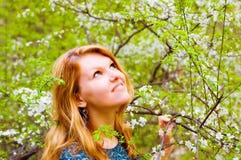 Jonge vrouw en tot bloei gekomen boom Stock Fotografie