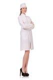 Jonge vrouw geïsoleerdek arts Stock Afbeelding