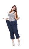 Jonge vrouw gelukkig van geïsoleerde het dieetresultaten van het gewichtsverlies, Stock Afbeeldingen
