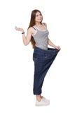 Jonge vrouw gelukkig van geïsoleerde het dieetresultaten van het gewichtsverlies, Stock Fotografie