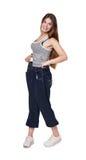 Jonge vrouw gelukkig van geïsoleerde het dieetresultaten van het gewichtsverlies, Royalty-vrije Stock Foto