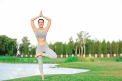 Jonge vrouw in grijze kostuum het praktizeren yoga Royalty-vrije Stock Afbeelding