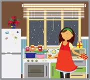 Jonge vrouw in haar keuken. Royalty-vrije Stock Foto's