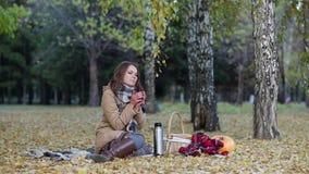 Jonge vrouw het drinken thee van een thermosfles in de zitting van het de herfstpark op een deken stock footage