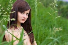 Jonge vrouw in het gras stock afbeeldingen