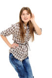 Jonge vrouw het luisteren roddel Stock Fotografie