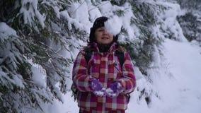 Jonge vrouw in het sneeuwhout Jonge mooie toeristentribunes alleen in het bos en de blikken rond Zij bekijkt sneeuw en stock videobeelden