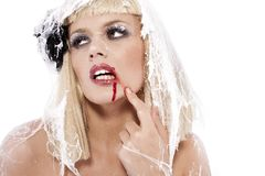 Jonge vrouw in het spinneweb Royalty-vrije Stock Foto