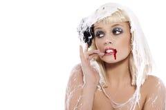 Jonge vrouw in het spinneweb Royalty-vrije Stock Foto's
