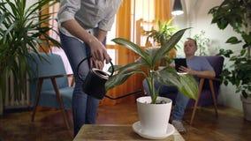 Jonge vrouw het water geven installatie in moderne huisman lezing van tablet stock video