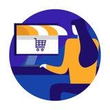 Jonge vrouw het winkelen online gebruikende Computerdesktop Online opslag stock illustratie