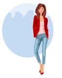Jonge vrouw in jeans en hielen stock illustratie