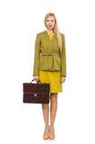 Jonge vrouw in levendig jasje en met aktentas royalty-vrije stock afbeeldingen