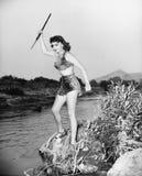 Jonge vrouw in luipaardhuid met spear (Alle afgeschilderde personen leven niet langer en geen landgoed bestaat Leveranciersgarant Stock Fotografie