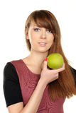 Jonge vrouw met appel Royalty-vrije Stock Foto