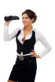 Jonge vrouw met binoculair Royalty-vrije Stock Foto
