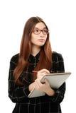 Jonge vrouw met blocnote Stock Foto's