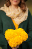 Jonge vrouw met bos van wildflowers Stock Afbeelding