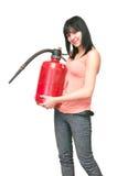 Jonge vrouw met brandblusapparaat Stock Fotografie