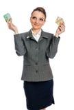 Jonge vrouw met contant geld Royalty-vrije Stock Afbeeldingen