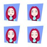Jonge Vrouw met de Rode Reeks van Haar Verschillende Gezichtsemoties Uitdrukkingen van het Meisjesgezicht Royalty-vrije Stock Fotografie