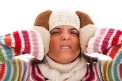 Jonge vrouw met een hoofdpijn Stock Foto