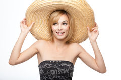 Jonge vrouw met een sombrerohoed Stock Afbeelding