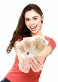 Jonge vrouw met euro geld Stock Fotografie